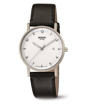 Boccia montre mixte cuir noir cadran blanc