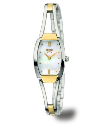 Bracelet montre bicolore, cadran nacre