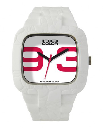 Montre Silicone blanche, chiffres rouges