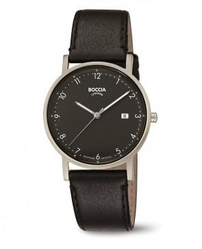 boccia montre mixte cuir noir monochrome