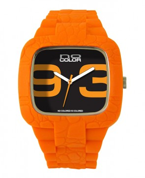 Montre silicone orange fluo