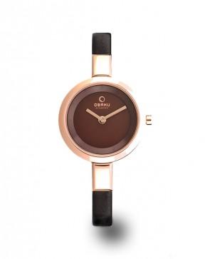 Montre or rose et bracelet cuir