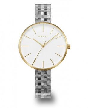 OBAKU : montre femme dorée et acier